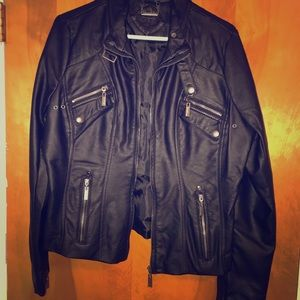 JouJou brand black leather jacket. New with tags!